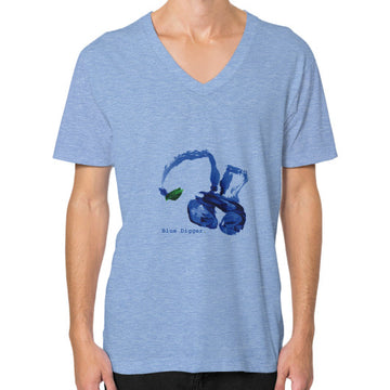 Blue Digger V-Neck - Man Tri-Blend Blue Blue Digger