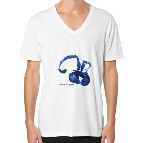 Blue Digger V-Neck - Man White Blue Digger