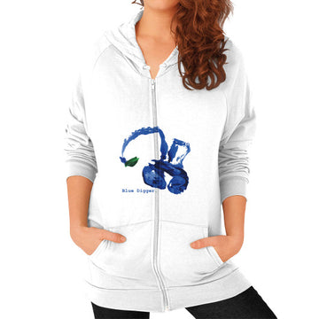 Blue Digger Zip Hoodie - Woman White Blue Digger