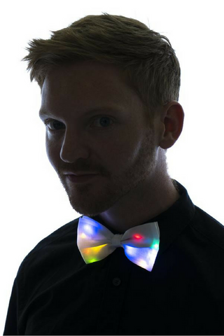 Light Up Bow Tie White with Multicolor LED Lights