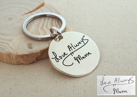 Personalized Handwriting Disc Keychain