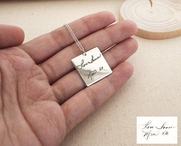 Personalized Handwriting Square Necklace