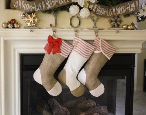 Christmas Stockings with Burlap and Red Accents - Set of 3