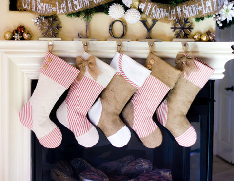 Christmas Stockings with Red Ticking - Set of 5
