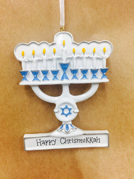 Personalized Christmas Ornament Menorah