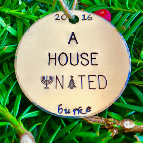 A House United Interfaith Hanukkah & Christmas Ornament