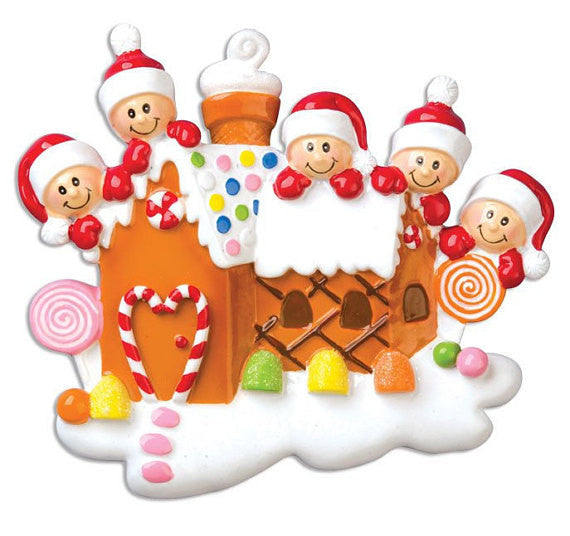 Personalized Christmas Ornament 5 Family Gingerbread