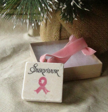 Pink Ribbon Survivor Christmas Ornament With Gift Box