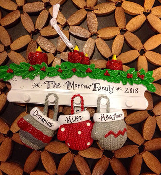 Personalized Christmas Ornament 3 Family Mittens