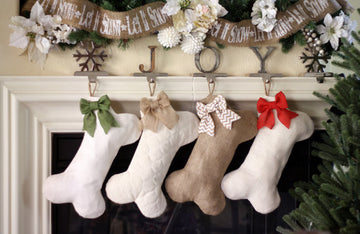 Burlap Pet Stocking - Dog Bone