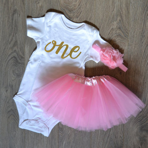 1st Birthday Outfit with Tutu and Headband