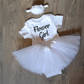 Flower Girl Outfit with Tutu and Headband