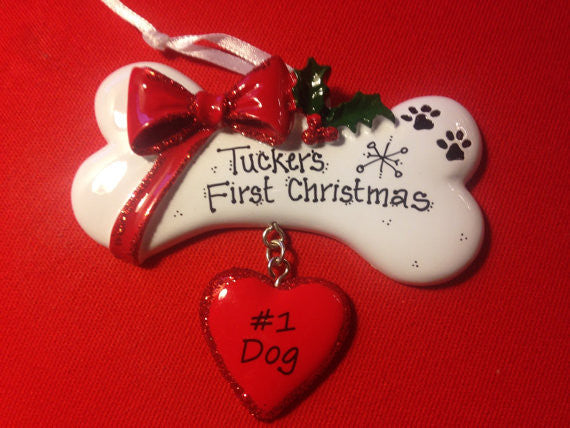 Personalized Christmas Dog Bone Ornament