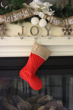 Red Minky and Burlap Christmas Stockings - Set of 2