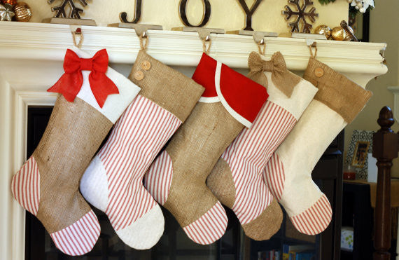 Christmas Stocking with Burlap and Red Accents