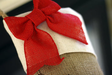 Christmas Stockings with Burlap and Red Accents - Set of 5