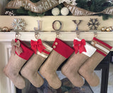 Burlap Christmas Stockings with Red Accent Cuffs - Set of 5