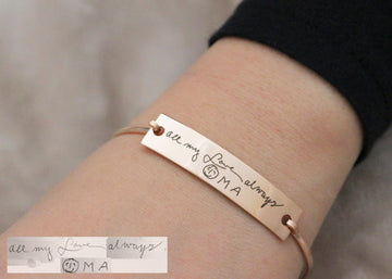 Personalized Handwriting Engraved Bangle