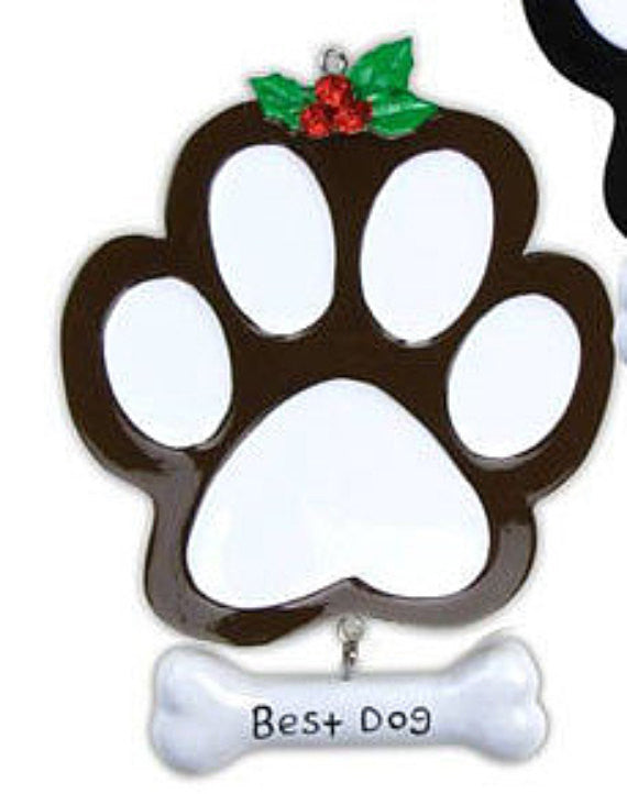 Personalized Best Dog Paw Print Ornament - Dark Brown