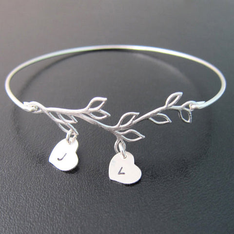 Olive Branch With Initials Bangle