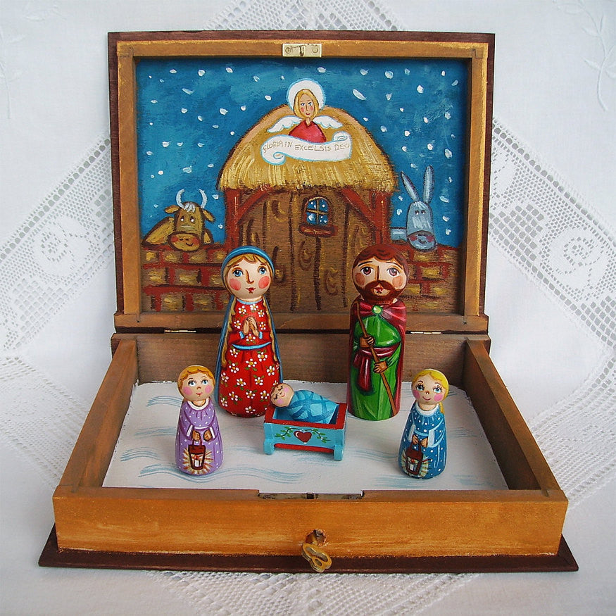 Wooden Christmas Nativity Set With Box