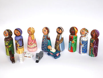 Nativity Family Peg Dolls with Animals