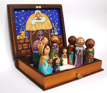 Wooden Christmas Nativity Family Set With Box