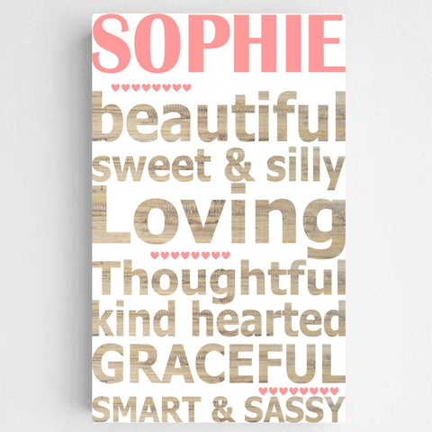 Personalized Kids Definition Canvas Sign