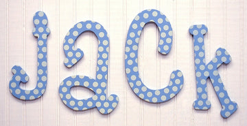 Blue Polka Dot Hanging Letters