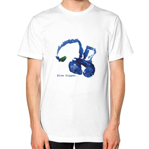 Unisex Blue Digger T-Shirt - Mens White Blue Digger
