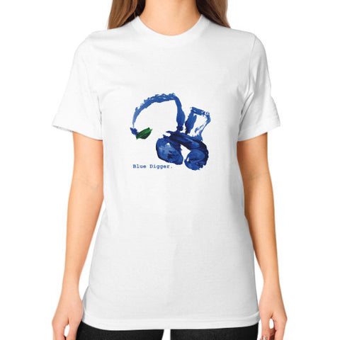 Unisex Blue Digger T-Shirt - Woman White Blue Digger