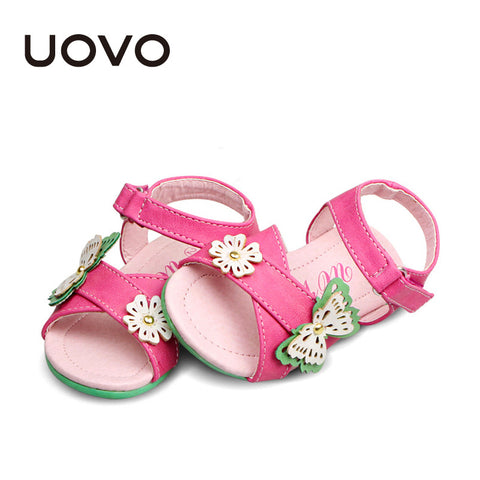 UOVO butterfly floral little girls sandals summer 2015 fashion children shoes girls summer sandals child princess sandals fuxia