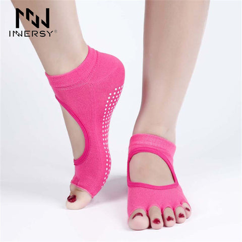 Innersy  1Pair Half Toe Ankle Grip Professional Yoga Socks Yoga Dance Pilates Socks Five 5 Toes Non Slip Sport Socks Jzh11