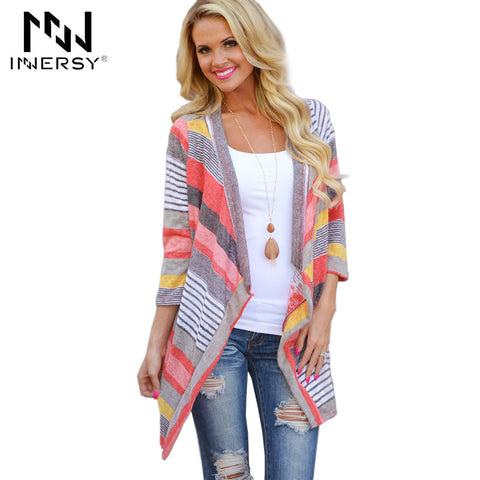 Innersy striped patchwork asymmetric cropped sleeve Cardigan coat Brand quality bathing suit cover ups beach cover dress Jzh119