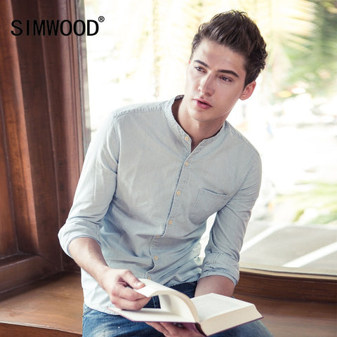 2016 SIMWOOD Brand Men Casual Shirts Autumn Long Sleeve Denim Shirt Fashion Slim Cotton Striped Shirts Camisa Masculina CS135