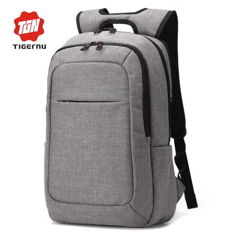 2016 Grey Canvas Men's Backpack Bag Brand High Quality 14.1 15.6 Inch Laptop Notebook Mochila for Men Waterproof Back Pack