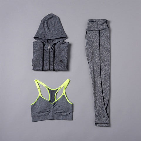Innersy 2016 New Yoga Sets Women Gym Clothes Cotton Blends Material Breathable Sports Bra + Pants + Shirt Yoga Set Women Jzh116