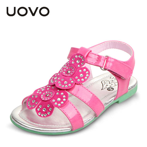 UOVO brand floral patent leather kids girl sandals princess girls sandals 2015 summer girl shoes flat sandaletten size 25-35