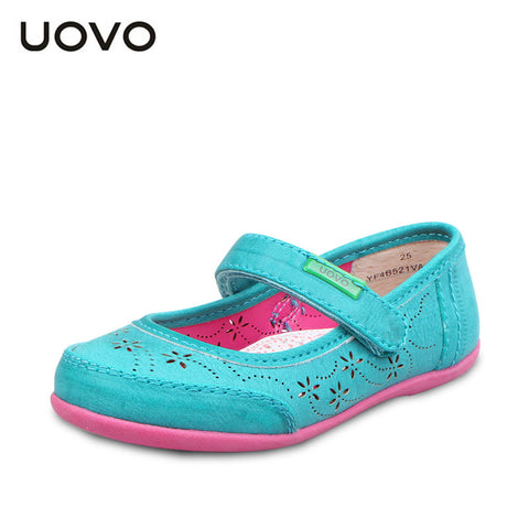 UOVO hollow out flower children shoes girls princess shoes kids girl leather shoes girls dress shoes for 3 - 9 years old