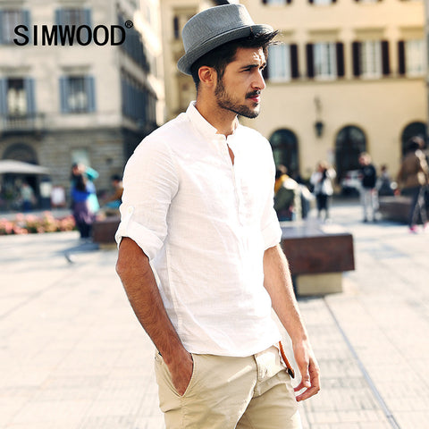 2016 New Arrival SIMWOOD Brand Men Clothing Casual Slim Solid Color Linen Shirt Fashion Camisa Masculina Free Shipping CS1531