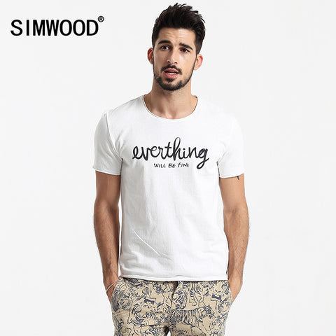 2016 New Arrival Simwood Brand Clothing Men T-shirt Shortsleeved O-neck Casual Slim Fit Tops Tee Plus Size Free Shipping TD1089