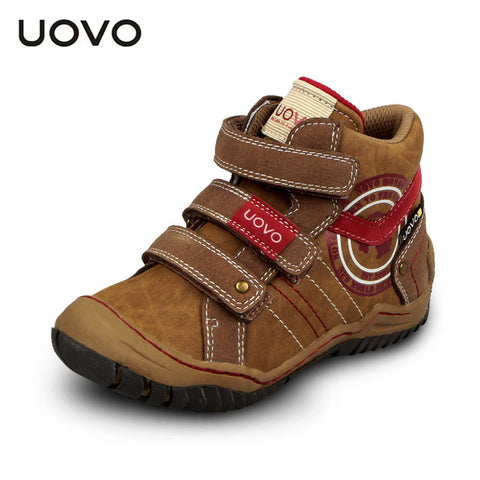 UOVO mid-cut children boys sport shoes outdoor shoes casual leather shoes for boys size 28-35 2 colors