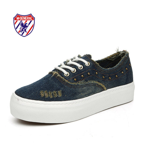 M.GENERAL New 2016 Women Fashion Canvas Casual Denim Shoes Lace-Up Rivet Low-cut Hot Spring Autumn Solid Zapatos Mujer M6996