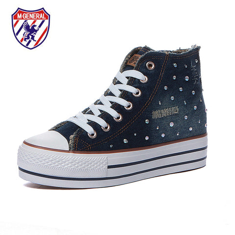 M.GENERAL Women Fashion Canvas Casual Shoes Denim High Cut Platform Scarpe Donna Walking Polka Dot Leisure Sapatos Hot M6623