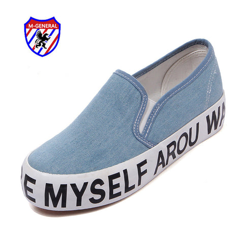 M.GENERAL Women Fashion Casual Shoes 2016 New Arrival Spring Autumn Solid Letters Platforms Slip-On Breathable Hot M6816