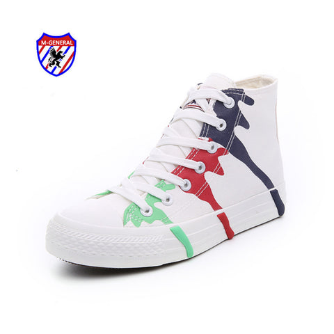 M.GENERAL Women Fashion Canvas Casual Shoes 2016 New Spring Autumn Style Lace-Up Graffiti Outside Zapatillas Espadrilles M6872