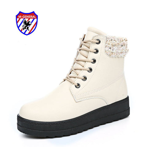 M.GENERAL 2016 Women Fashion Winter Style Ankle Boots Casual PU Canvas Shoes Hot Sale Walking  Leisure Sapatos Scarpe Donna 909