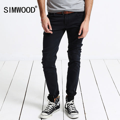 2016 New Arrival SIMWOOD Brand Black Men Pencil Jeans Slim Fit Casual Zipper Fly Denim Pants Plus Size Free Shipping SJ6001