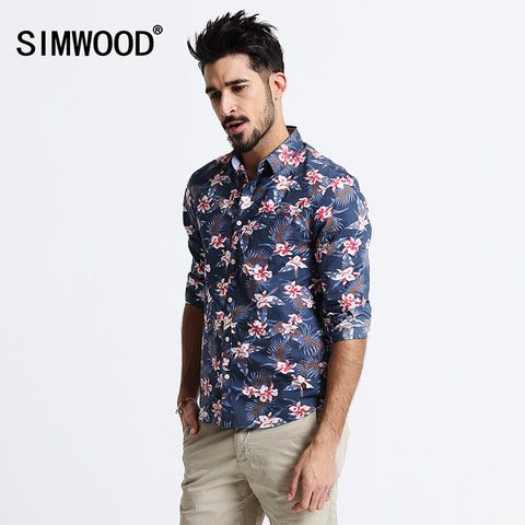 2016 New Arrival SIMWOOD Brand Fashion Autumn Shirt Men Long sleeved Print Cotton Slim Fit Shirts Free Shipping CS1514
