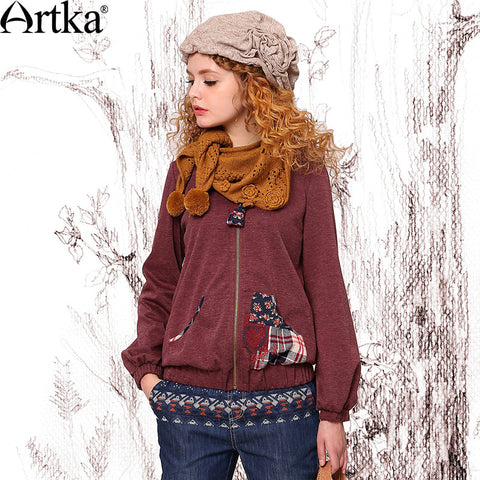 Artka Women's Autumn New Solid Color Patchwork Lantern Sleeve Embroidery Hoodie Zip-up Casual Pullover VA10347Q